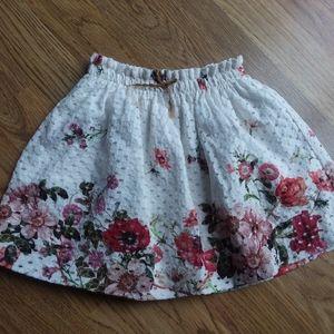 Zara girls floral skirt elastic waist size 4 104